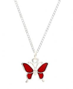 Red Butterfly Necklace - Perfect Stocking Filler,